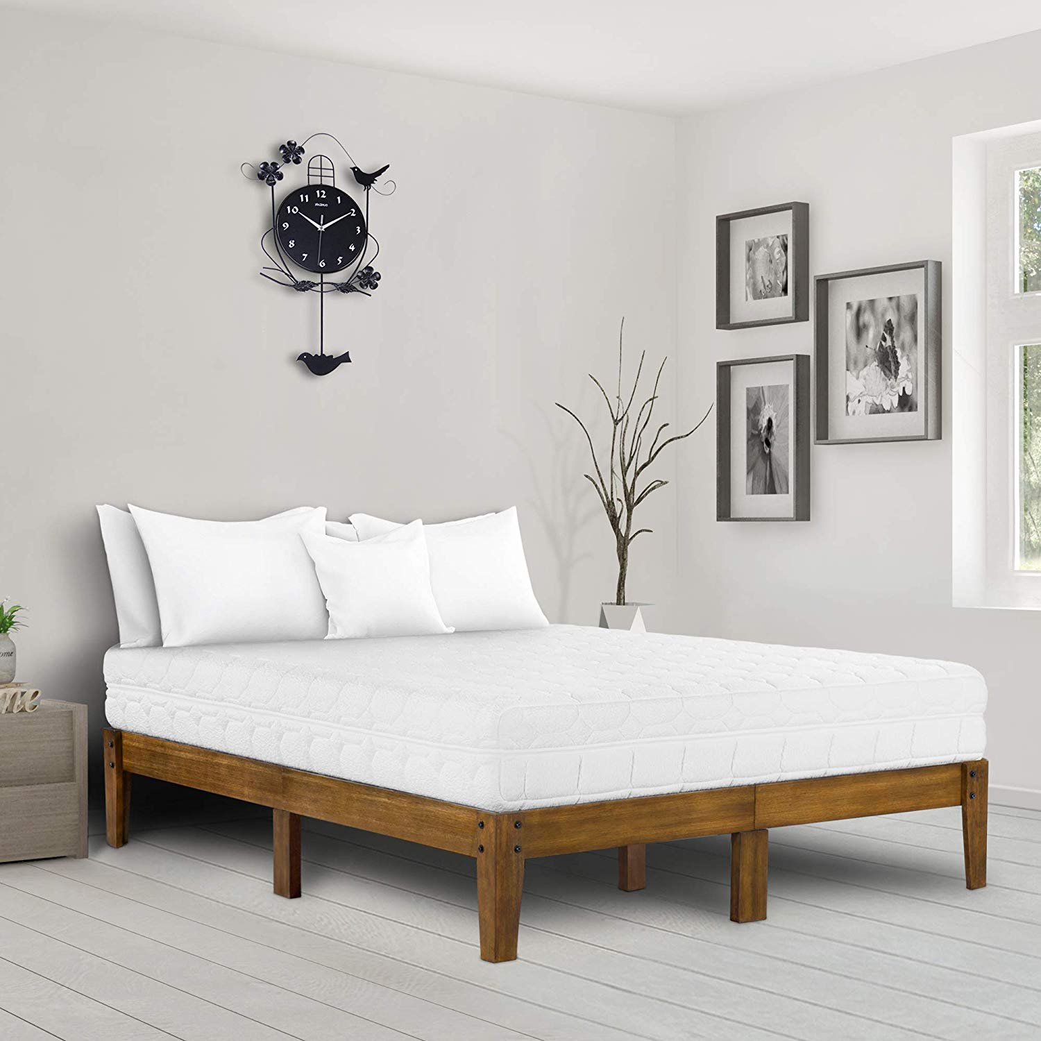 Ecos Living 14 Inch High Rustic Solid Wood Platform Bed