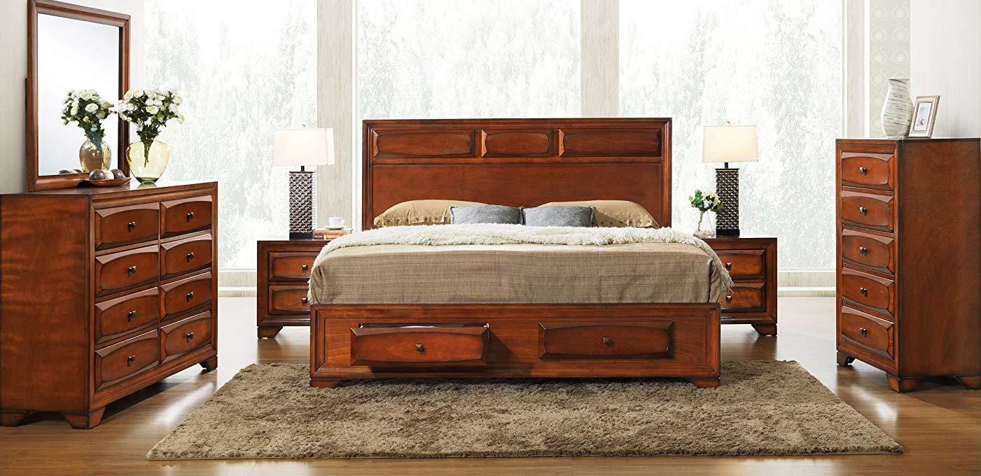Roundhill Furniture Oakland 139 Wood Platform Bed
